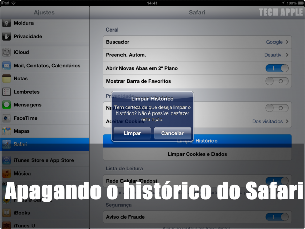 Como apagar os Histórico do Safari no iPhone,iPad ou iPod