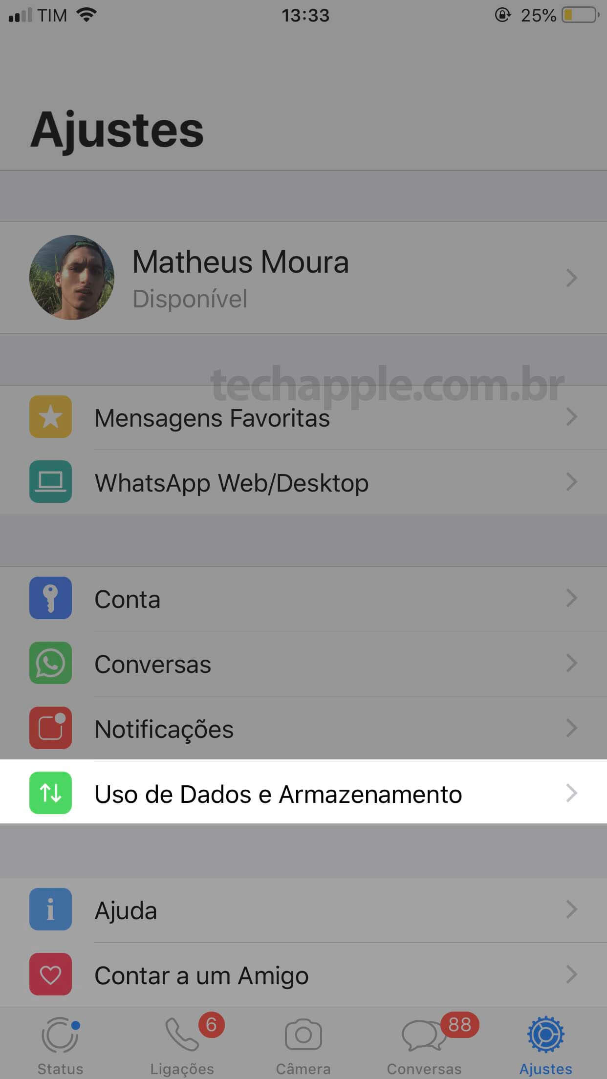 WhatsApp Ajustes - TechApple.com.br