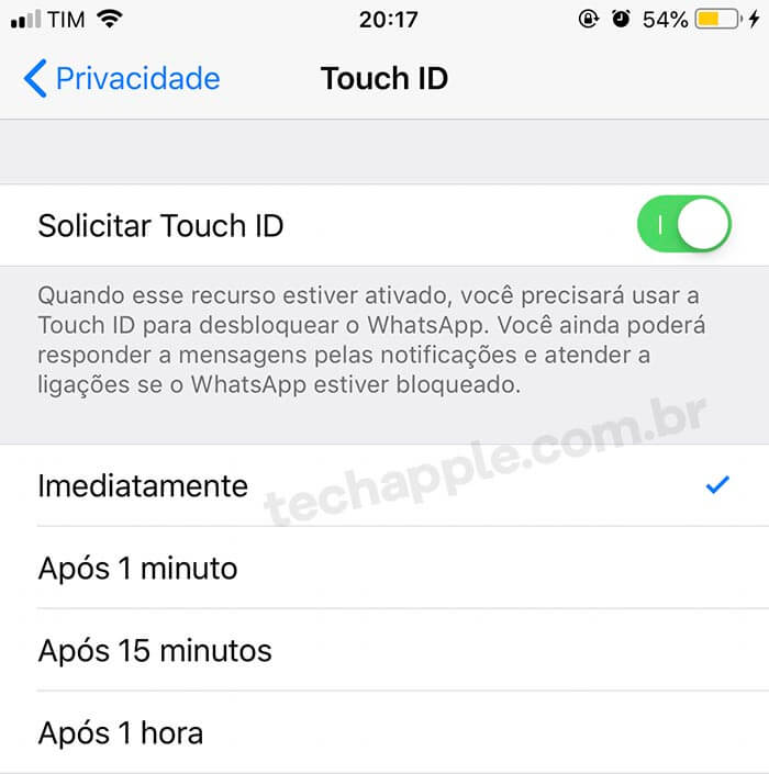 Solicitar Touch ID - WhatsApp